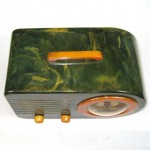 1940 Fada Bullet 116 Bakelite Catalin Radio, Blue with Pumpkin trim