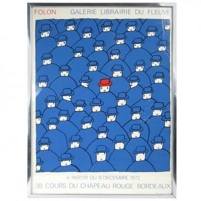 """1974 Jean-Michel Folon Pop Artist 38 Cours Du Chapeau Rouge Bordeaux """"Men in Red Hat"""""""