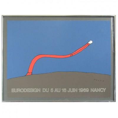 "1969 Jean-Michel Folon Pop Artist ""Nancy"" Serigraph"