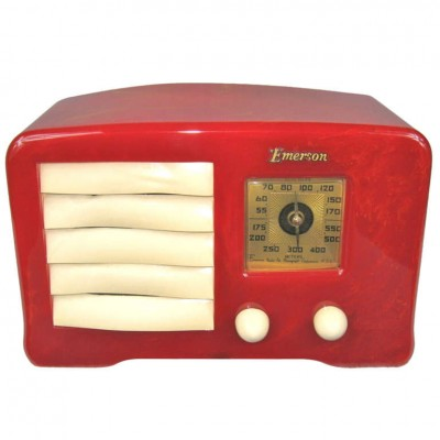 1938 Emerson AX-235 Red with Off White Trim Original