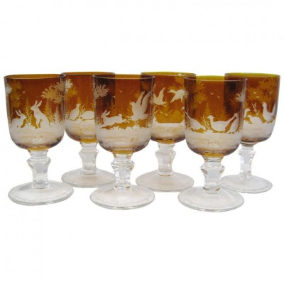 Set of 6 19th Century Amber Bohemian wine glasses