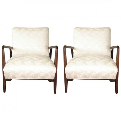 Pair of Jens Risom Walnut Frame Armchairs