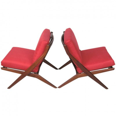 Folke Ohlsson for DUX Walnut Scissor Chairs