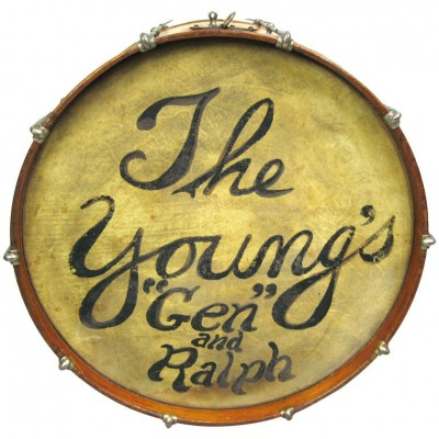 "1920's Ludwig Drum Table with glass top, The Young's ""Gen"" and Ralph"