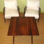 Pair of Jens Risom Walnut Frame Armchairs