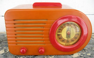 1940 Fada Art Deco Bullet Catalin Bakelite Radio, Yellow with Red Trim