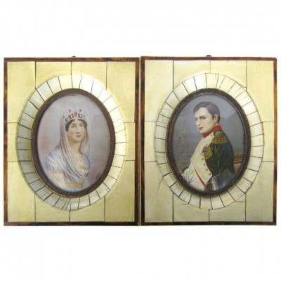 19 Century Pair of Miniatures of Napoleon and Josephine De La Roche