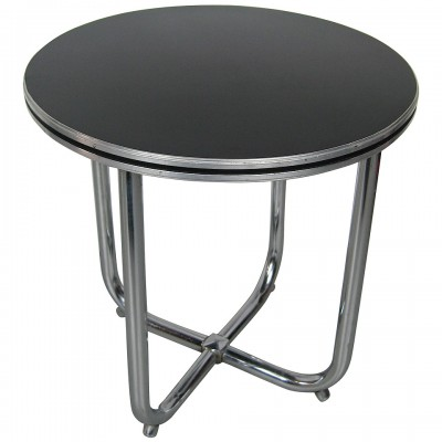 Streamline Art Deco Wolfgang Hoffman Art Deco Chrome & Black Side Table