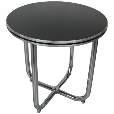 Streamline Art Deco Wolfgang Hoffman Art Deco Chrome & Black Side Table