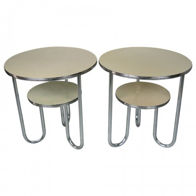 Pair of Wolfgang Hoffman Art Deco Tables by Royal Chrome