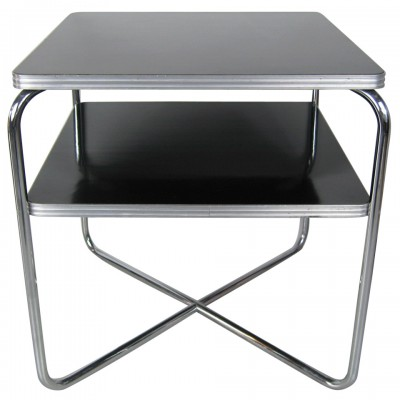 Streamline Art Deco Wolfgang Hoffman Table by Royal Chrome Black X Base