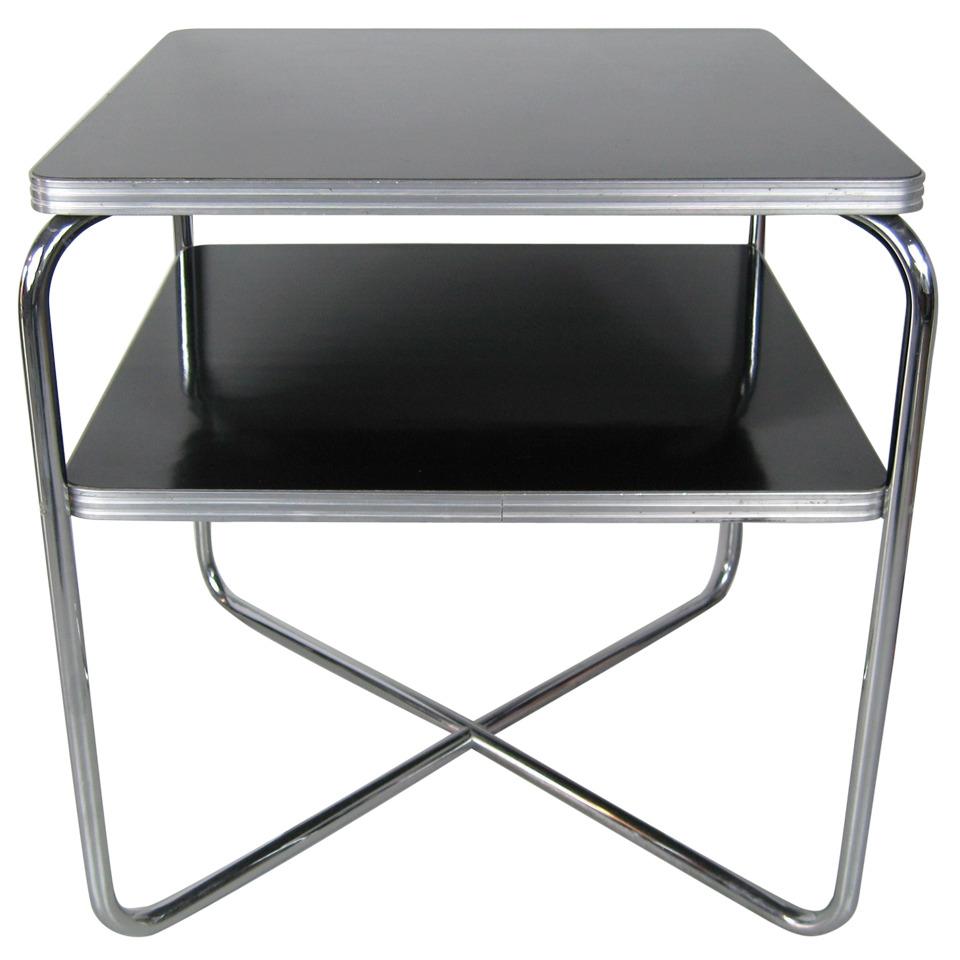 Streamline Art Deco Wolfgang Hoffman Table by Royal Chrome Black X Base