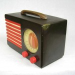 1940's Emerson Blue, White and Red Patriot Catalin / Bakelite Tube Radio