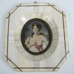 19th c. Victorian Painted on Ivory Frame Portrait Miniature