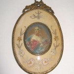 Early 19th Century Fancy Maiden Miniature Portrait Embroidered Frame