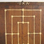 Primitive American Fox and Geese Gameboard 1880s Signed