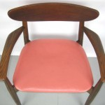 Pair of Mid-Century Modern Teak Chairs, Fur Seats