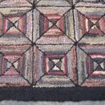 Spectacular Geometric Vintage American Folk Art Hook Rug