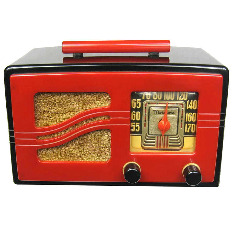 "1941 Iconic Motorola Black & Red ""S"" Grill Catalin Bakelite Tube Radio"
