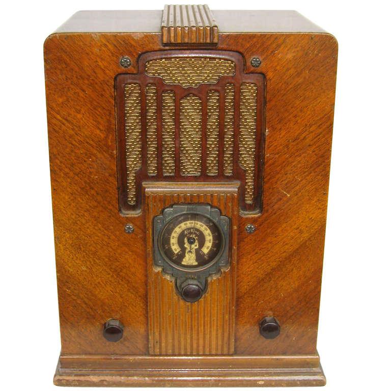 933 Air King Rare Sky Scraper Atlas Wood Tube Radio
