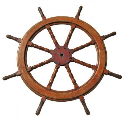 Late 19th C. Ships Wheel Hard Wood And Iron