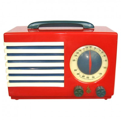 1940's Emerson Red, White and Blue Patriot Catalin / Bakelite Tube Radio