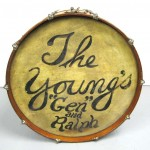 """1920's Ludwig Drum Table with glass top, The Young's """"Gen"""" and Ralph"""