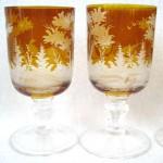 Set of 6 19th Century Amber Bohemian wine glasses