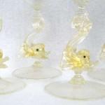 Eight Salviati Italian Venetian Murano Wine Stem Glasses