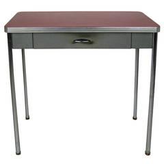 1930s Royal Chrome Red Metal Industrial Desk