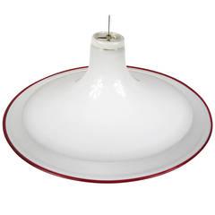 1970s Modern Murano Italian Handblown Dish Pendant Chandelier Light