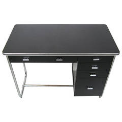 "1930s Unique ""Royalchrome"" Streamlined Office Desk with Tubular Chrome Base"