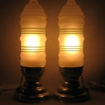 Pair of American Art Deco Aluminum and Frosted Glass Table Lamps