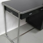 "1930s Unique ""Royalchrome"" Streamlined Office Desk with Tubular Chrome Base"