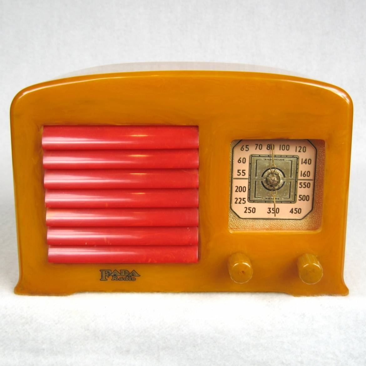 1938 FADA 53 Yellow with Red Grill Bakelite Catalin Art Deco Radio