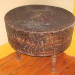 Early 1800s Primitive Round Butcher Block Table Farm House Chic